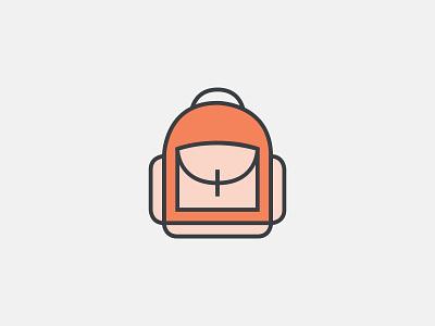Knapsack knapsack illustration icon icons orange outlined line