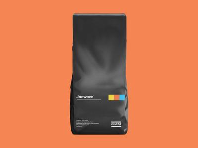Joewave Coffee orange color type joywave cultco print design bag coffee