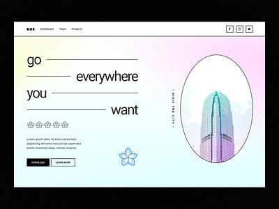 Pastel Geometric Hero Section gradient ui landing page header web design
