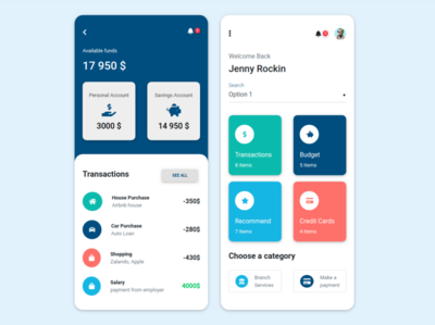 Bank App inspired by Material Design (Pantone Color of the Year)