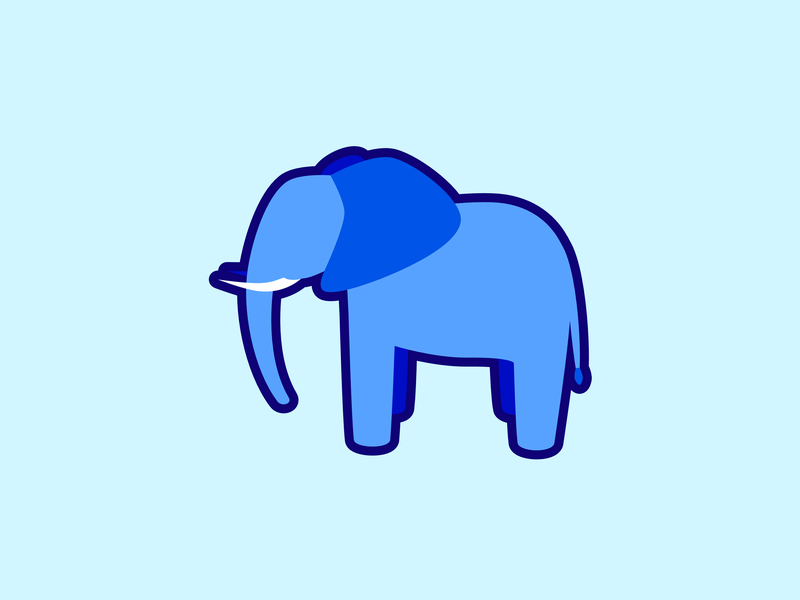 Elephant animal animals illustration branding flat simple minimal vector graphic design clean cute blue elephant logo art design