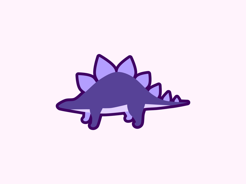 Stegosaurus purple logo cute design animal minimal illustration flat graphic design vector simple purple dinosaur stegosaurus