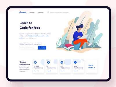 Programiz Web App Redesign ipad programming coding education home page landing page landing human clean blue website daily ui challenge minimal flat web vector design illustration ux ui