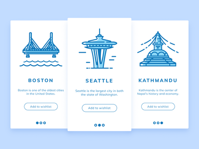 Travel App Onboarding clean mobile minimal flat app design white illustration blue daily ui challenge ux ui nepal tourism onboarding boudha kathmandu boston seattle travel