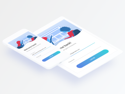 Daily UI #1: Login register minimal sign in login red mobile design blue flat app clean daily ui challenge log in sign up clay illustration white ipad ux ui
