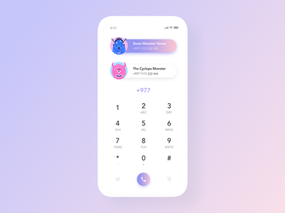 Daily UI #3: Clean Dialpad gradient flat app design call dailer dial pad clean avatar monster phone dialpad clay white iphone pink ux ui daily ui challenge mobile