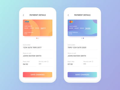 Daily UI #4: Credit Card Info Form commerce finance gradient app minimal flat design clean payment credit card clay white iphone orange blue ux ui card daily ui challenge mobile