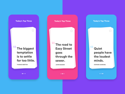Daily UI #5: Quote Card App bold flat app colorful app purple pink clean blue design mobile daily ui challenge white ux ui