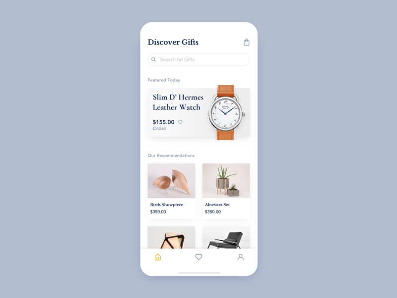 Daily UI #6: Gift App serif font ecommerce app gift iphone orange yellow white app design mobile ux ui daily ui challenge clean