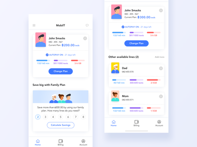 Mobile Operator Dashboard human mobile colorful iphone minimal family plan flat sim network mobile operator avatar illustration design app clean white blue daily ui challenge ux ui