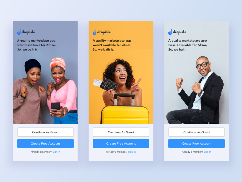 Dropisle Welcome Screens iphone app daily ui challenge peer to peer shopping ecommerce dropisle sign up flat registration sign in login welcome yellow blue design mobile clean ux ui