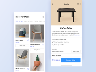 Dropisle Online Shopping App product detail iphone furniture minimal dashboard flat product daily ui challenge mobile dropisle peer to peer shopping ecommerce design app clean blue white ux ui