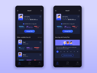 Mobile Operator Dashboard Dark UI illustration mobile sim network mobile operator family plan avatar flat app design daily ui challenge clean dark app black dark blue ux ui
