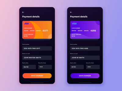 Daily UI #4: Credit Card Info Form Dark UI finance mobile gradient credit card payment iphone flat app daily ui challenge card clean black dark purple orange yellow blue design ux ui