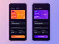 Daily UI #4: Credit Card Info Form Dark UI