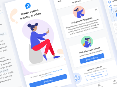 Learn Python App educational education coding python learning app learn red app iphone avatar flat design white daily ui challenge clean mobile illustration ux blue ui