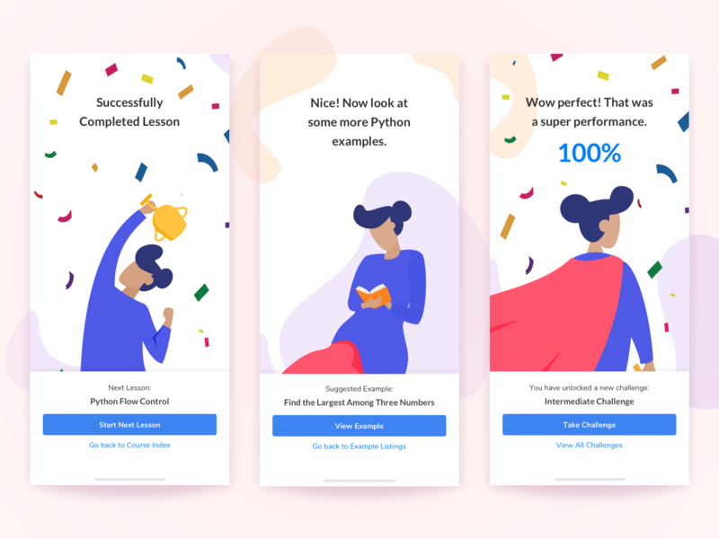 Completion Screens - Learn python hero education minimal gamification learning app mobile app achievement completion human red flat white illustration design daily ui challenge clean blue ux ui