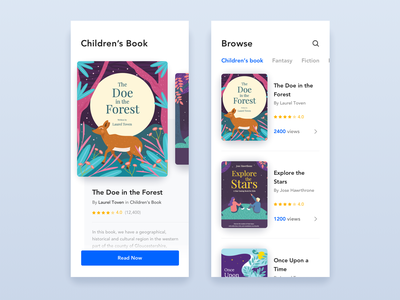 Reading Application education book cover library reading list childrens illustration childrens book reading app book store clean mobile white blue minimal flat app daily ui challenge design illustration ux ui
