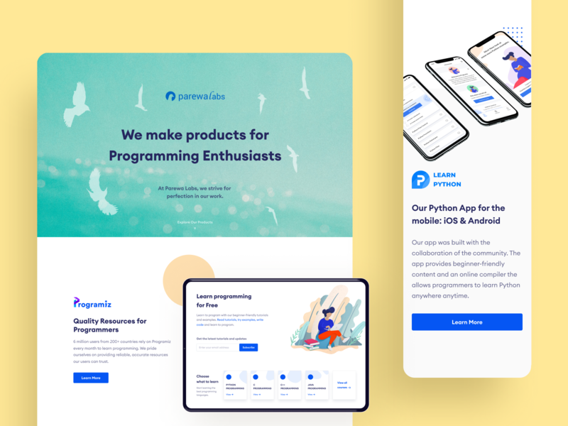 Parewa Labs Landing Page Redesign mobile design product design blue responsive homepage landing page product page education website web green minimal clean branding illustration flat daily ui challenge ux ui design