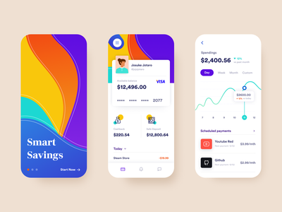 Bank App Concept scheduled payments money financial avatar colorful gradient savings business banking app minimal flat design daily ui challenge ux ui