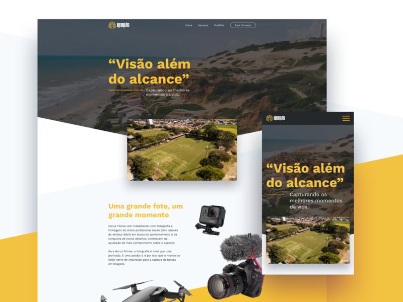 Horus Filmes - Website diagonal cam drone ui ux ux design ui design landing page web website photograph films horus