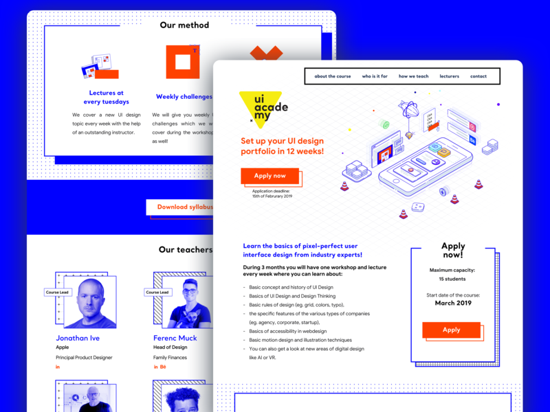 UI Academy - Landing page bauhaus brutalist brutalism webdesign uidesign course branding landing page concept onepager isometric landing page