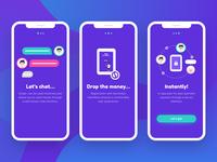 drops. - Chat-Based Fintech App - Onboarding Screens