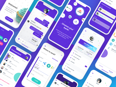 drops. - Chat-based Fintech App - Showcase clean app collection showcase screens payment ios purple fintech chat uidesign branding