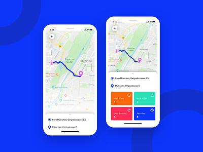 Car app - Map UI concept ios invisionstudio maps ux design uidesign mobile ui map app car
