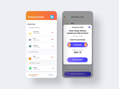 SpendInvest Animated Screens