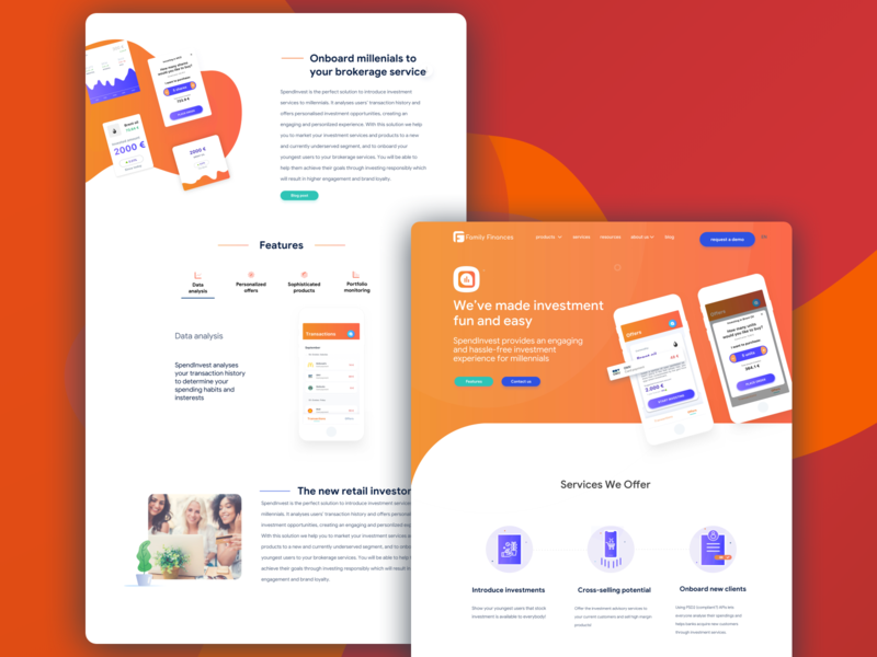 Spendinvest Product page landing design art direction ui fintech concept banking retail investment product landingpage landing