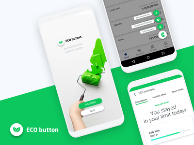 Eco Button concept mobile ui galaxy s10 floating button stock photo flat mobile bank app bank financial eco-friendly sustainable green eco android concept fintech