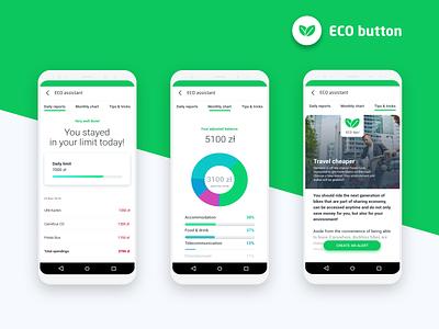 Eco Button Concept Showcase financial advisor health mobile ui banking fintech ethical sustainable whitespace clean galaxy s10 android sdk mobilbank bank green button eco concept