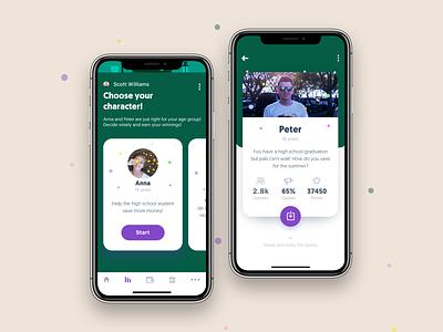 Choose your character! | iOS app millennials ios app finance cash iphone11 ios mobile piggybank education edutainment financial ui bank fintech