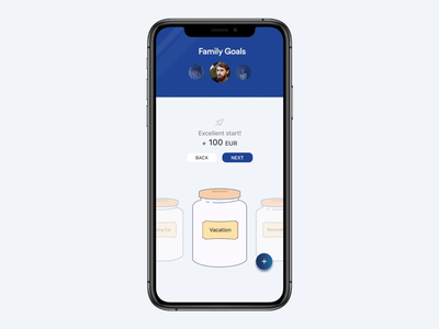 Family Goals Concept I iOS invision invision studio invisionstudio goals wallet uiux transactions money ui ios management concept family savings clean budget banking bank