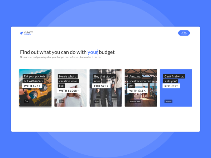 Curated Money budget curated money