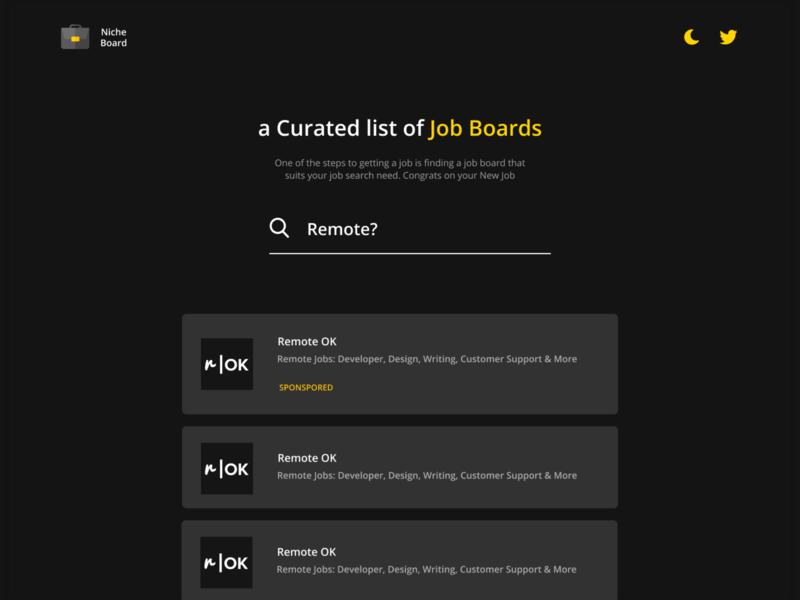 Nicheboard job application jobs work job board