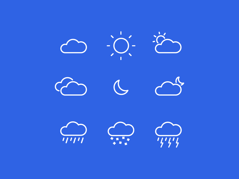 Minimal Weather Icons 🌥 minimal moon sun rain clouds seasons white blue flat weather vector icon