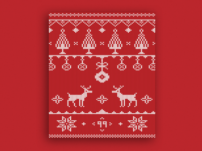 Christmas Sweater Card 🦌 - Happy Holidays freebie free card snowflake red tree snow vector illustration sweater christmas