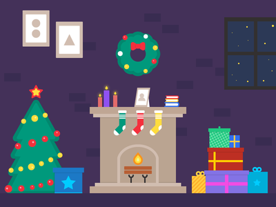 Merry Christmas 🎄 christmas holidays illustration santa xmas snow winter gifts tree night fire new year