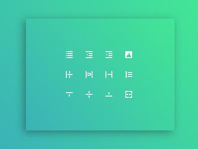 Text Editor ✱ Icon Set II shadow iconography art icons gradient black flat text design vector white minimal