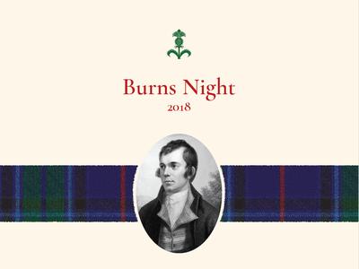 Burns Night invitation cloth fabric invitation thistle scottish tartan