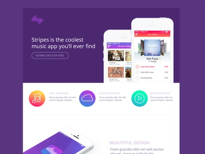 Stripes - Music App Website stripes music music website app website landing page cloud one pager ios 7 iphone