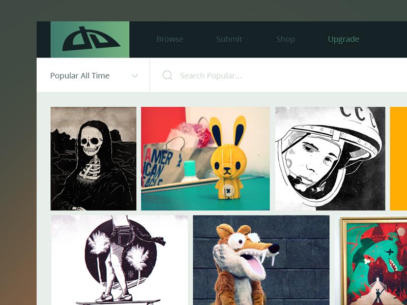 deviantART Redesign website deviantart art ui deviantart redesign projects illustration design gallery grid