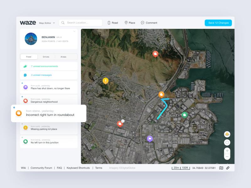 Waze Map Editor by Ariel Verber on Dribbble