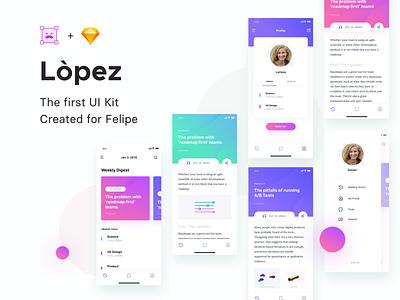 Lòpez UI Kit profile article ui kit mobile app card cards course app