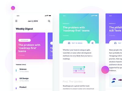 Lòpez UI Kit - Weekly Digest lopez felipe design system profile mobile app course ui kit cards card article app