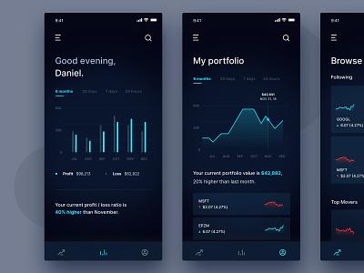 García UI Kit cards app design stock trading crypto finance app bars finance app graph