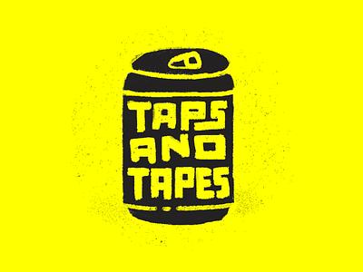 Taps and Tapes Logo movie film film screening beer beer can tapes taps design illustration logo branding