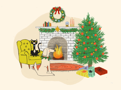 Holiday Fireside home pets cat dog christmas mid century hearth fireplace holiday illustration